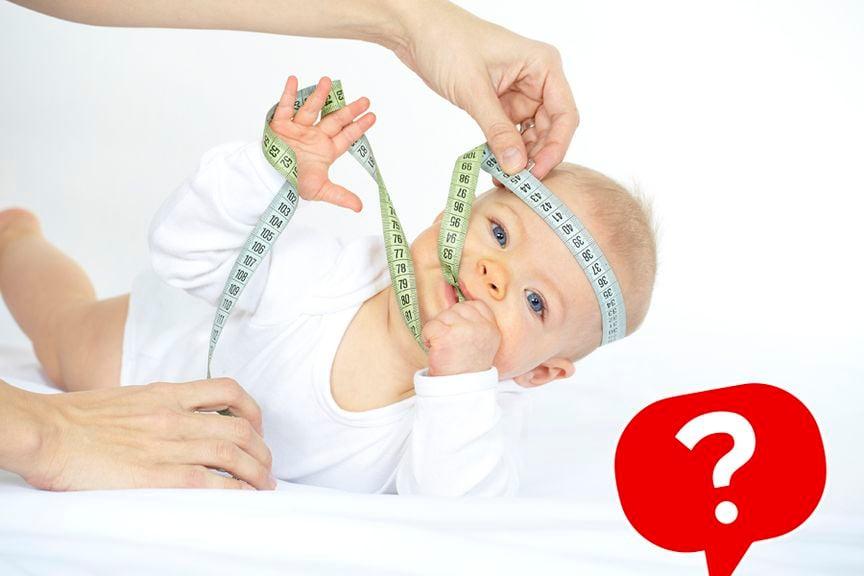 Quiz Wachstum Baby Icon, Baby mit Zentimetermass um den Kopf und im Mund und Händen
