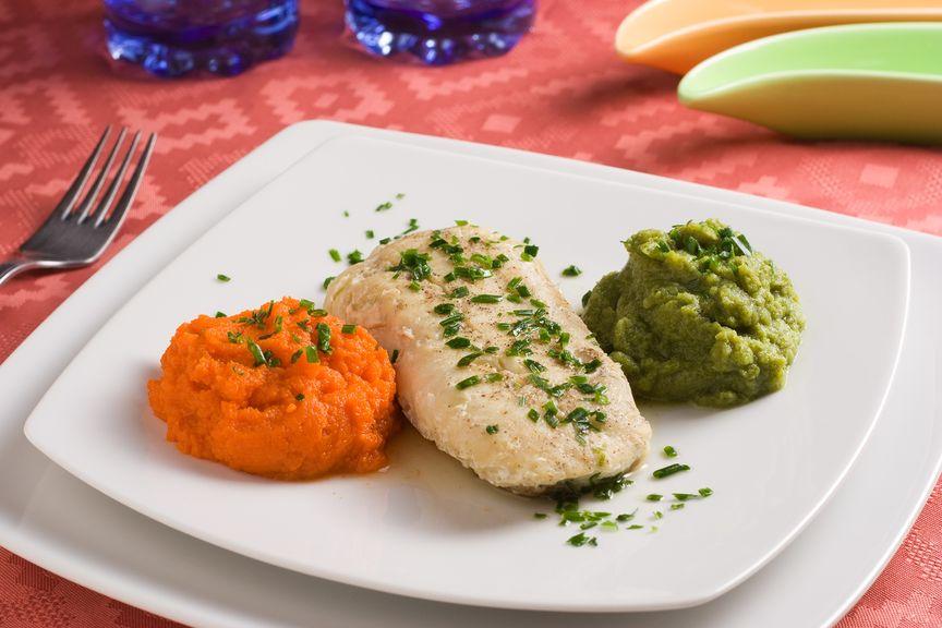 Gemüsebrei mit Fisch