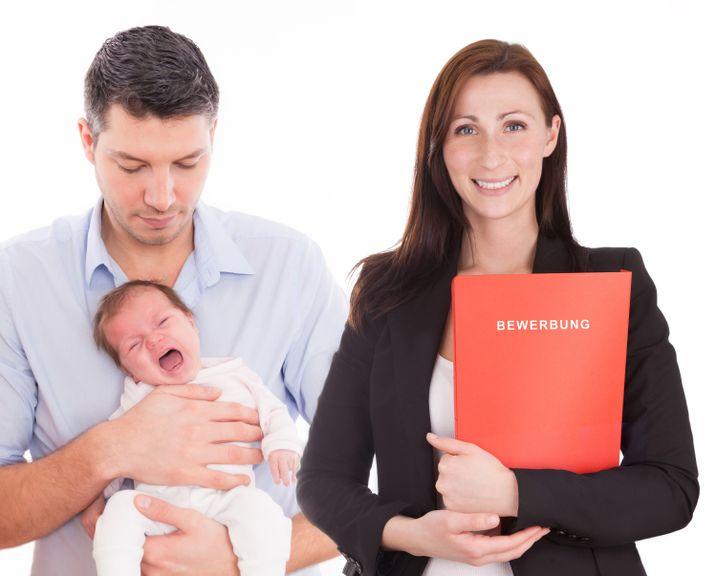 Frau mit Unterlagen, Mann mit Säugling