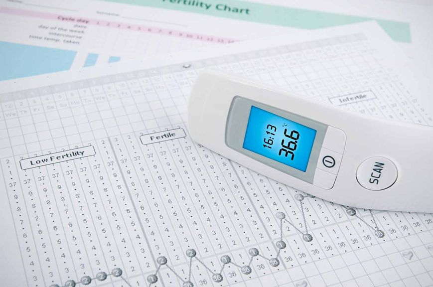 Tabelle zur Bestimmung der fruchtbaren Tage, Zyklustabelle und digitales Fieberthermometer
