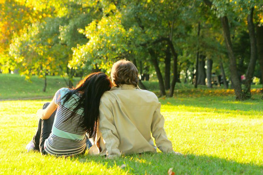 AVA Foto ohne Logo,Paar im Park auf der Wiese sitzend, von hinten