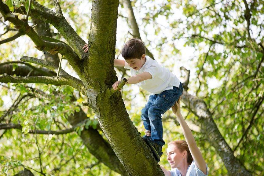 Mutter hilft dem Kind auf den Baum zu klettern