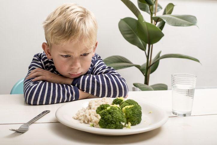 Kind sitzt vor dem Teller
