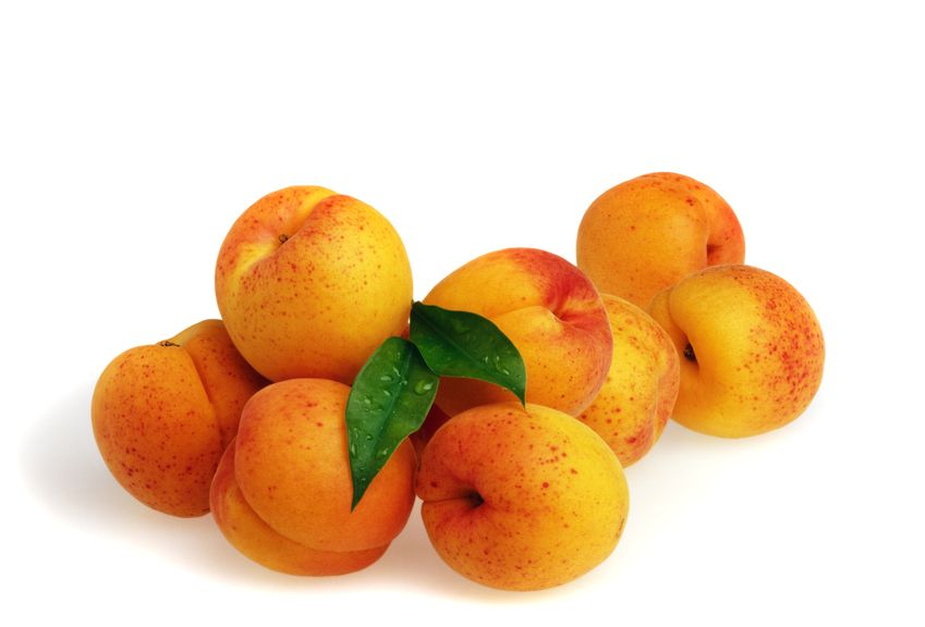 Aprikosen mit grünem Blatt