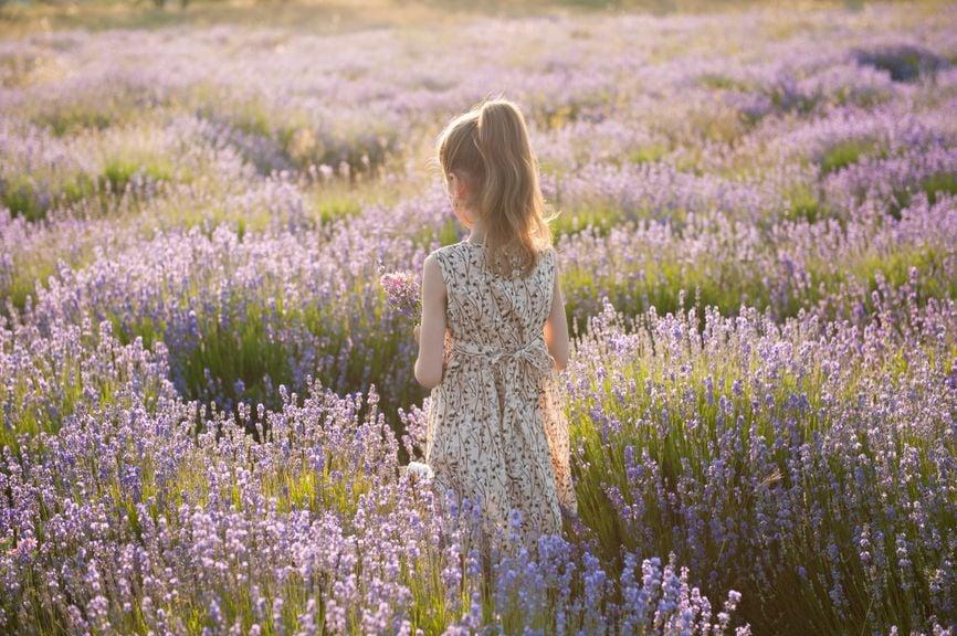 Mädchen im Lavendelfeld
