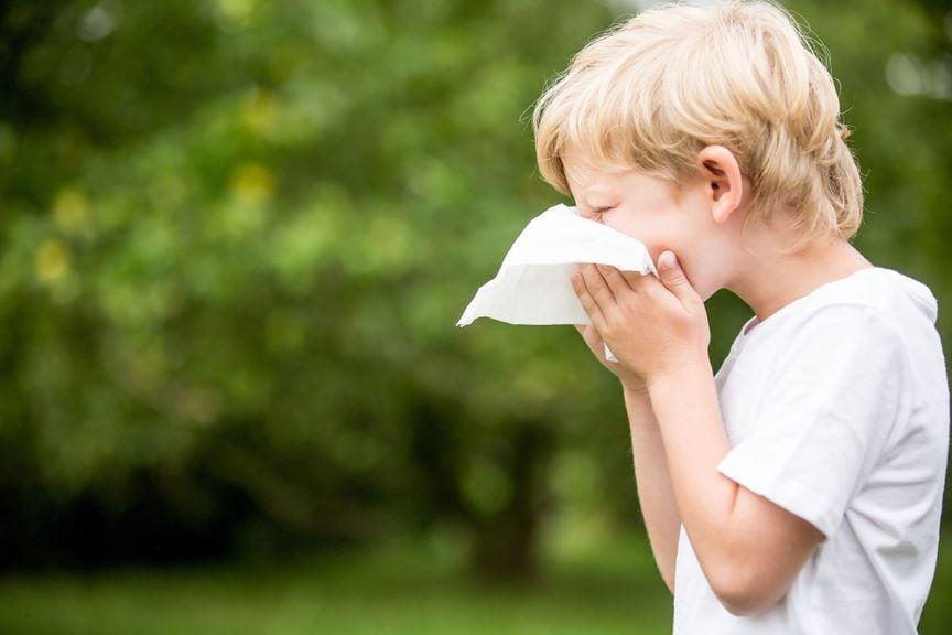 Kind putz sich die Nase