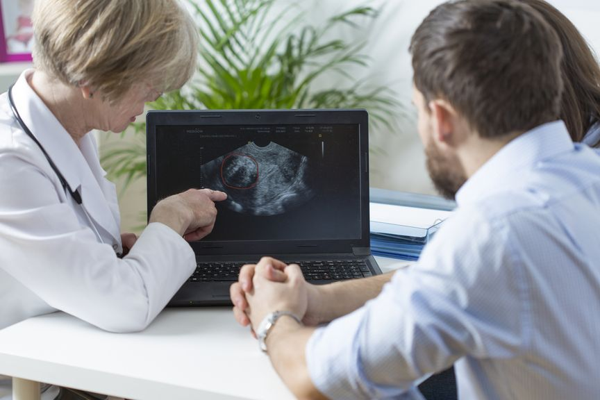 Ärztin zeigt einem Paar ein Ultraschallbild auf dem Monitor