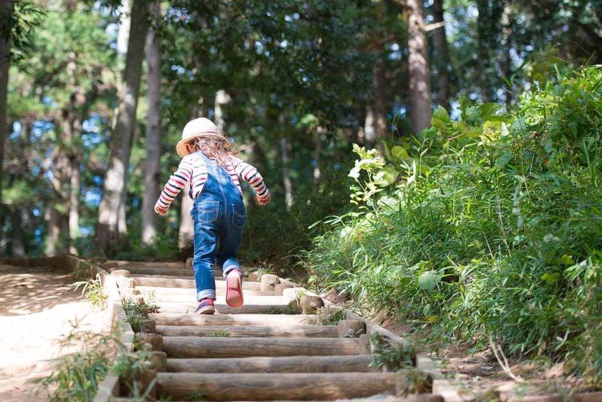 Kind im Wald läuft Treppe hinauf