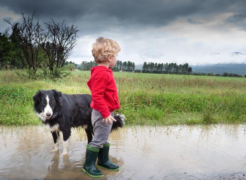 Kind steht mit Hund in einer Wasserpfütze, am Himmel dunkle Gewitterwolken