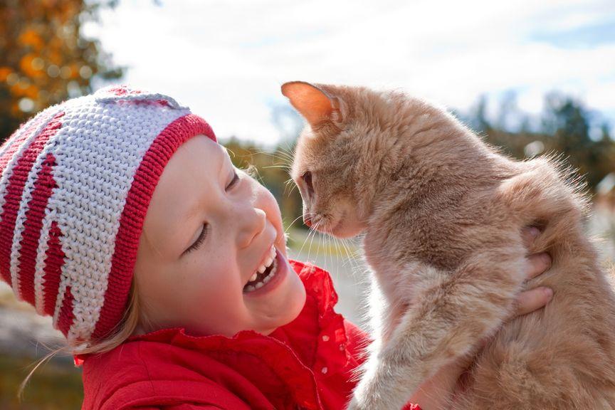 Kind hält eine Katze