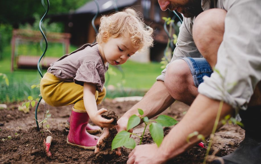 Kind mit Vater beim Pflanzen im Garten