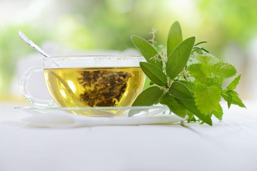 Glastasse mit Tee und Kräuterbouquet