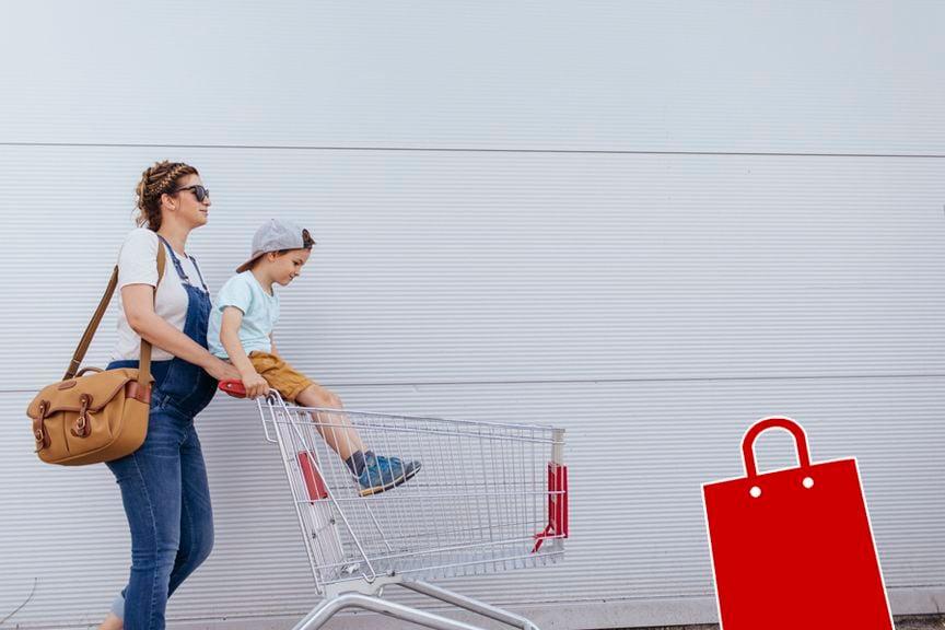 Schwangere mit Einkaufswagen mit Icon