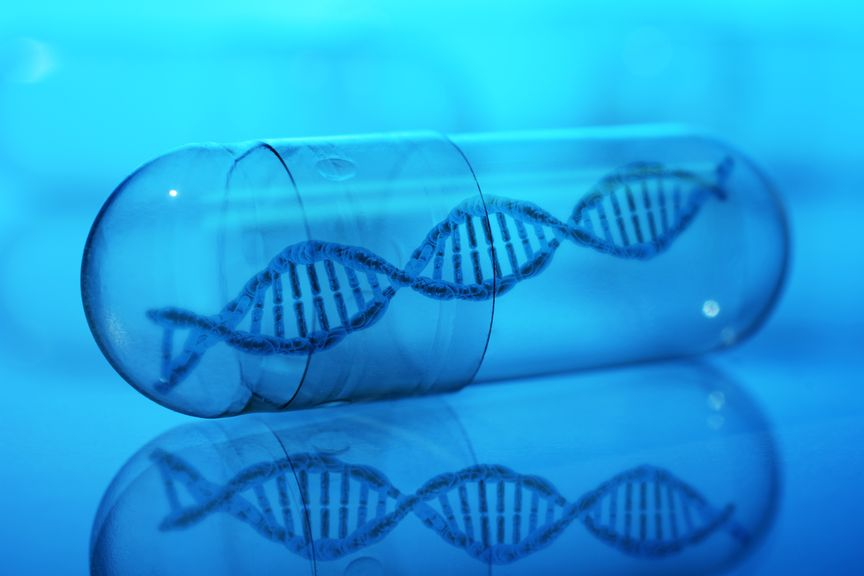 Kapsel mit DNA Doppelhelix